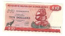 Zimbabwe 10 Dollars 1994 AUNC Pressed .J. - Zimbabwe