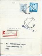 Aangetekende Brief Van TONGERLO(ANTW) Gefrankeerd Met 7fr + 50c - 1953-1972 Bril