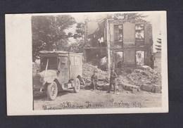 Carte Photo Guerre 14-18 Terny Sorny (02) Ambulance Armée Allemande Devant Ruines Krankenwagen 1918 - Autres Communes