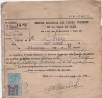 Reçu Pour Inhumation/Service Municipal Des Pompes Funèbres De La Ville De Paris/Chéze/ 1924/               VPN136 - Décès