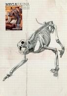 """Entier Postal De 2008 D'Australie Sur CP Avec Timbre Et Illust. """"Faune Géante Disparue - Thylacoleo Carnifex"""" - Préhistoriques"""