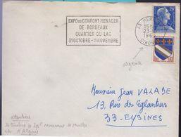 Affranchissement 20f Bleu Muller, Timbre D'Algérie N'a Pas Pouvoir D'affranchissement En France, Oblit.Mérignac 23-10-69 - Curiosidades: 1960-69 Cartas