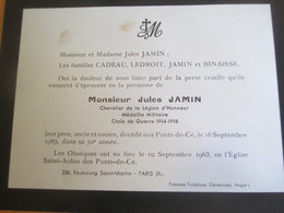 Monsieur Jules JAMIN/ Chevalier De La Légion D'Honneur/ Ponts De Cé/ Pompes Funébres Générale/ ANGERS/ 1963   FPD114 - Décès