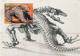 """Entier Postal De 2008 D'Australie Sur CP Avec Timbre Et Illust. """"Faune Géante Disparue - Megalania Prisca"""" - Préhistoriques"""