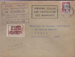 """Affranchissement 0,25 Décaris Flamme De Vervins 5-6 1963 """"8eme Centenaire Des Remparts"""" Vignette De Vervins 23 Juin 1963 - Curiosidades: 1960-69 Cartas"""
