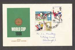 GB FDC World Cup 1966 Football Sports Edinburgh Postmark - FDC