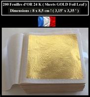 200 Feuilles D'OR 24 K ( 8 X 8,5 Cm !!! ) Sheets GOLD Foil Leaf - Dorure Gilding - Creative Hobbies