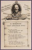 In Memoriam, King George V, 1936 - Valentine's RP Postcard - Royal Families