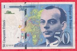 "50 Francs ""St Exupéry"" 1993 N °Q.009399375 -----VG/TTB - 1992-2000 Last Series"