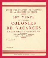 Carte D'invitation - Oeuvre Des Colonies De Vacances De La Chaussée Du Maine - Année 1933 - Non Classés