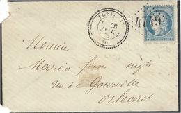 1872- Enveloppe De THEILLEY ( L.& C. ) Cad T24 Affr. N°60 Oblit. G C 4749 Pour Orléans - Storia Postale