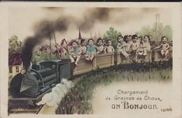 FANTAISIE---chargement De Graines De Choux--un Bonjour --( Train + Bébés )--voir  2 Scans - Neonati