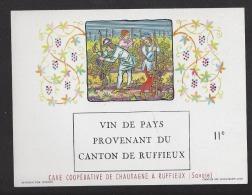Etiquette De Vin De Pays Provenant Du Canton De Ruffieux (73)  - Cave Coop. De Chautagne  -  Thème Travail De La Vigne - Non Classificati
