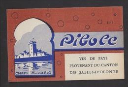Etiquette De Vin De Pays Du Canton Des Sables D'Olonne Années 50/60  -  Pibole   -  Thème Monuments - Non Classificati