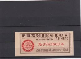 ALLEMAGNE 1942 BILLET DE LOTERIE PARTICIPATION EFFORT DE GUERRE NAZI - Billets De Loterie