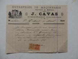 Facture De L'entreprise De Maçonnerie J. Cavas à Bures-en-Bray (76). - France