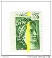 Sabine 1fr Vert YT 1973 Avec Phosphore à Cheval Et Au Centre . Superbe Et Rare , Voir Le Scan . Maury N° 1973f : 12 € . - Variétés Et Curiosités