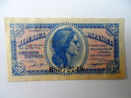 Espagne, 50 Centimos, Type 1937-1938 - [ 2] 1931-1936 : Republic