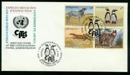 FD UNO Wien FDC 1993 - MiNr 143-146 Viererblock - Gefährdete Arten Zebra Wolf Waran Pinguin - FDC