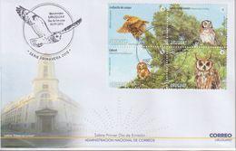 Uruguay. 2015. Chouettes Et Hiboux. FDC Cachet Illustré - Owls