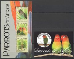 Y470 2011 GAMBIA BIRDS PARROTS OF AFRICA 1BL+1KB MNH - Perroquets & Tropicaux
