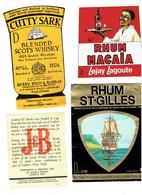 Lot 7 - étiquette Publicité LEJAY LAGOUTTE Dijon 21 - RHUM St Gilles WHISKY CUTTY SARK J&B Chivas Longmore - Whisky