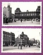 LOT DE 2 PHOTOGRAPHIES - BELGIQUE - BRUXELLES / GARE DU NORD / PLACE DEBROUCKERE / 1950 - Places