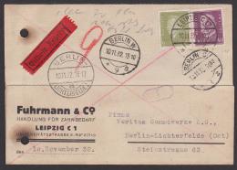 Germany Hindenburg 40 Pf In MiF Mit Friedrich Ebert Auf Eilsendung Leipzig - Berlin-Lichterfelde - Alemania