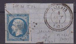 """FRANCE  : PC 3971  . """" JALLAIS """" . (47) . N° 14 . TB . SUR FGT . - Marcophilie (Timbres Détachés)"""