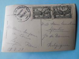 2 Timbres 1931 N° 169 Sur Carte Photo Paquebot Léopoldville 1938 Oblit. Haute Mer - Congo Belge