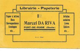 Buvard / Librairie - Papeterie DA RIVA PONT-DE-ROIDE 25 DOUBS - Carte Assorbenti
