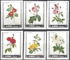 3209 Painting Art Flora Roses Blumen P.J.Redoute 1969 Ajman 6v Set MNH ** 4,5ME Imperf Imp - Roses