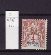 Inde Française - India - Indien  1892 Y&T N°3 - Michel N°3 Nsg - 4c Type Sage - India (1892-1954)