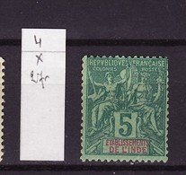 Inde Française - India - Indien  1892 Y&T N°4 - Michel N°4 * - 5c Type Sage - India (1892-1954)