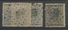 10c Gris N° 17  Ensemble De 4 Timbres Avec Nuances Coté 3,- Soit Cote  12,-E - 1865-1866 Profil Gauche