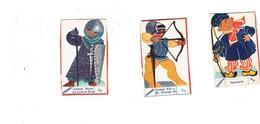 LOT 3 - Chromo Illustration Avec Socle  Publicité BANANIA Chevalier Archer Normand - Banania