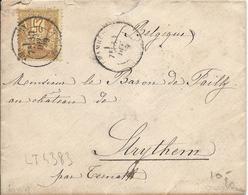 LT4383  N°92/enveloppe, Oblit Cachet à Date De CHAMBERY, Savoie(88) Pour La BELGIQUE, Au Dos Cachet FRANCE OUEST 3 - 1876-1898 Sage (Type II)