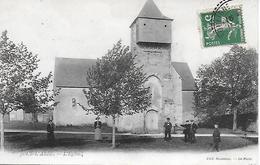 JOUE L'ABBE EGLISE ANIMEE 1911 CARTE INEDITE EDIT. HOUSSEAU LE MANS - France