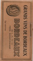 Publicité/ Plaque Carton/ Grands Vins De Bordeaux/ Blanc /Trés Recommandé/Le Verre / BORDEAUX/ Vers 1930-50     BFP204 - Pappschilder