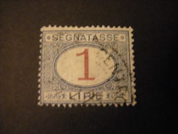 REGNO -1870/94,  Sass. N. 27, SEGNATASSE, Lire 1, Azzuro E Carminio, Usato - 1878-00 Humberto I