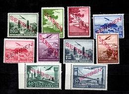 Serbie Occupation Allemande Poste Aérienne YT N° 1/10 Neufs ** MNH. TB. A Saisir! - Occupation 1938-45