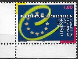 2001  Liechtenstein   Mi. 1256**MNH  Vorsitz Liechtensteins Im Europarat - Liechtenstein