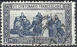 Italia, 1926 San Francesco 1.25 Azzurro D.11  # Michel 238A - Yvert & T. 190 - Scott 182 - Sassone 199 - USATO - 1900-44 Vittorio Emanuele III
