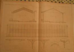 Plan De La Charpente En Fer De La Gare Des Aubrais. Chemin De Fer D'Orléans. 1866 - Publieke Werken