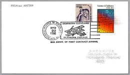 60 Años PRIMER CORREO AEREO DEARBORN-CLEVELAND - DEARBORN-CHICAGO. Dearborn Heights MI 1986 - Correo Postal