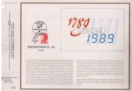 FEUILLET CEF TIRAGE 20.300 EX EN OFFSET, PHILEXFRANCE 89, 1987 - Expositions Philatéliques