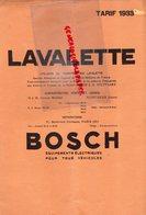 93- SAINT OUEN- PARIS- RARE CATALOGUE LAVALETTE -ROBERT BOSCH A.G. STUTTGART- EQUIPEMENTS ELECTRIQUES AUTO-TARIF 1933 - Cars