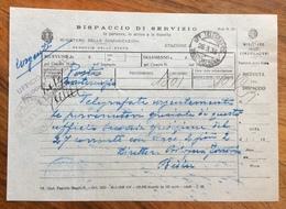 FERROVIE  DISPACCIO DI SERVIZIO  MOD.M.106 UFF.TELEGRAFICO SUCC. BOLOGNA 28/3/38 - Marcophilia