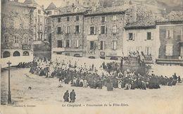 Le Cheylard: Procession De La Fête-Dieu Sur La Grande Place - Collection C. Courtial - Le Cheylard