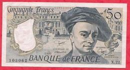 """50 Francs""""Quentin De La Tour"""" 1981 Série N°X.22 (AUCUN TROU D EPINGLE)  ----------XF/SUP+ - 1962-1997 ''Francs''"""